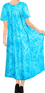 LA LEELA Rayon Tie Dye Beach Formal Beach Casual DRESS Beach Cover up Womens  Teal Blue 117 One Size