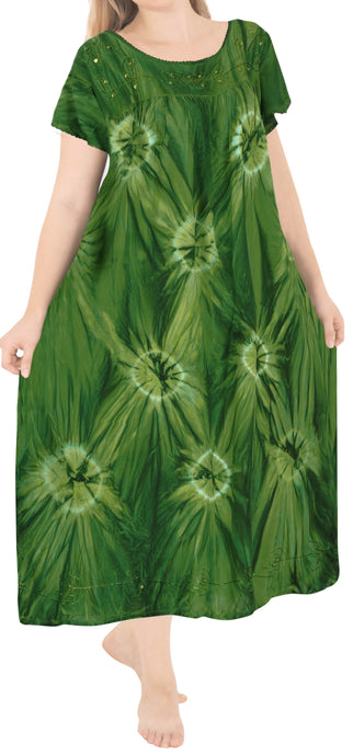 la-leela-casual-dress-beach-cover-up-rayon-tie-dye-butterfly-caftan-womens-party-parrot-green-3202-one-size