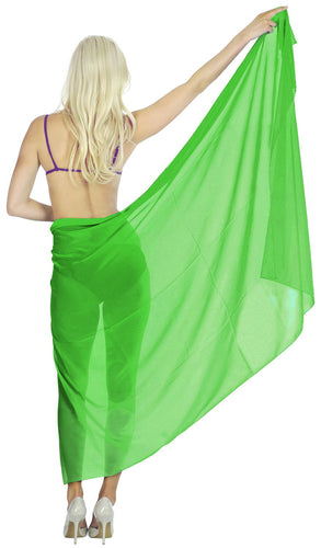 LA LEELA Sheer Chiffon Women Wrap Beach Sarong Solid 88