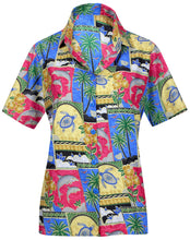 Load image into Gallery viewer, la-leela-womens-beach-casual-hawaiian-blouse-short-sleeve-button-down-shirt-tank-top-red