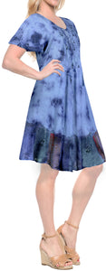 LA LEELA Rayon Tie Dye Beach Vacation Stretchy Tube Casual DRESS Beach Cover up Blue_3281 Plus Size