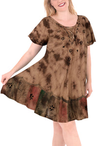 la-leela-rayon-tie-dye-cruise-length-knee-halter-tube-casual-dress-beach-cover-up-brown-3282-plus-size