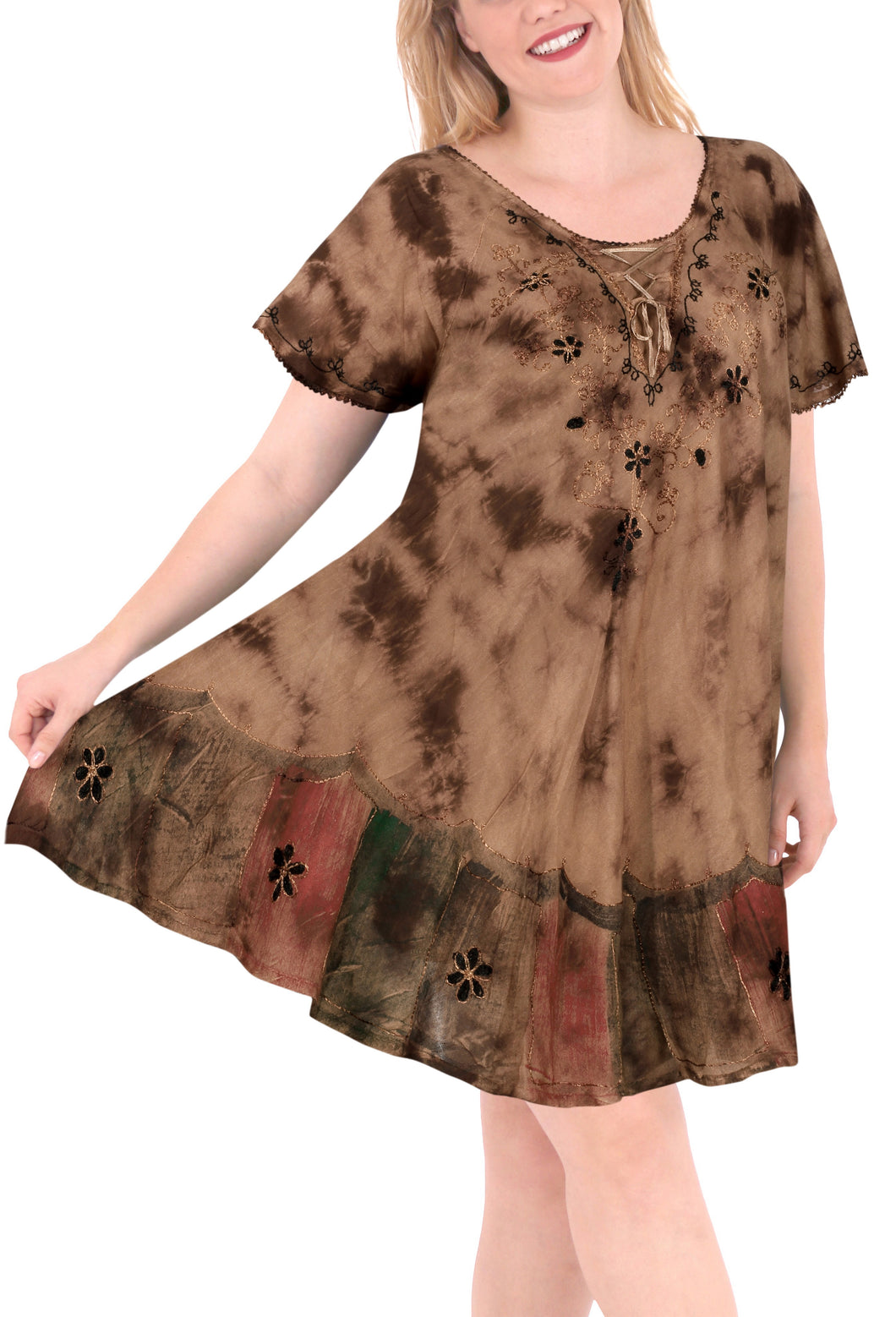LA LEELA Rayon Tie Dye Length Knee Halter Tube Casual DRESS Beach Cover up Brown 3282 Plus Size