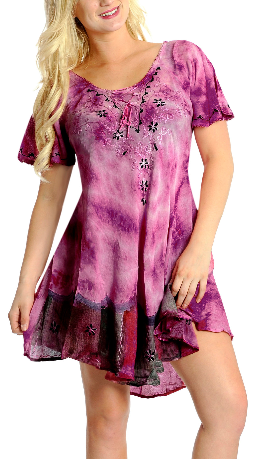 la-leela-casual-dress-beach-cover-up-rayon-tie-dye-aloha-beach-women-top-floral-pink-532-one-size