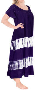 LA LEELA Rayon Tie Dye Casual Tank Tube DRESS Beach Cover up Purple_L654 OSFM 14-22W [L-3X]