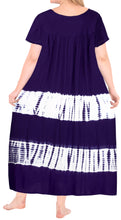 Load image into Gallery viewer, LA LEELA Rayon Tie Dye Casual Tank Tube DRESS Beach Cover up Purple_L654 OSFM 14-22W [L-3X]