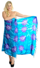 "Load image into Gallery viewer, LA LEELA Rayon Wrap Pareo Swimsuit Women  Sarong Tie Dye 72""X48"" Blue_4393 Blue_L646"