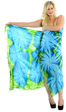 Load image into Gallery viewer, la-leela-rayon-swimwear-women-wrap-sarong-tie-dye-74x47-parrot-green_4396-green_l643