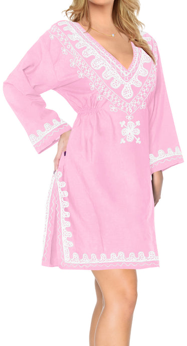 la-leela-rayon-womens-kaftan-style-nightgown-cover-up-dress-bathing-suit   Pink_l631 124534