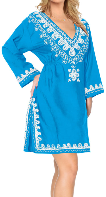 la-leela-rayon-womens-kaftan-style-nightgown-cover-up-dress-bathing-suit   Blue_l630 124535