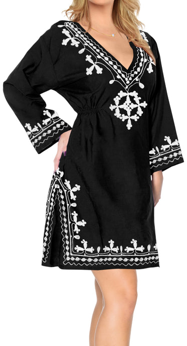 LA LEELA-Women's-One-Size-Caftan-Dress-Kaftan-Cover-Up-Sleepwear-Tops-Short-Midi