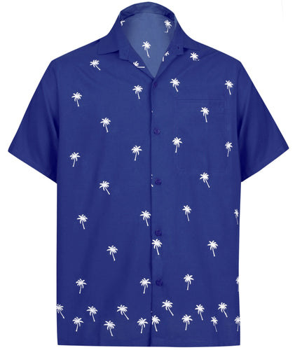 LA LEELA Men's Beach Hawaiian casual Aloha Button Down Short Sleeve shirt Blue_W823