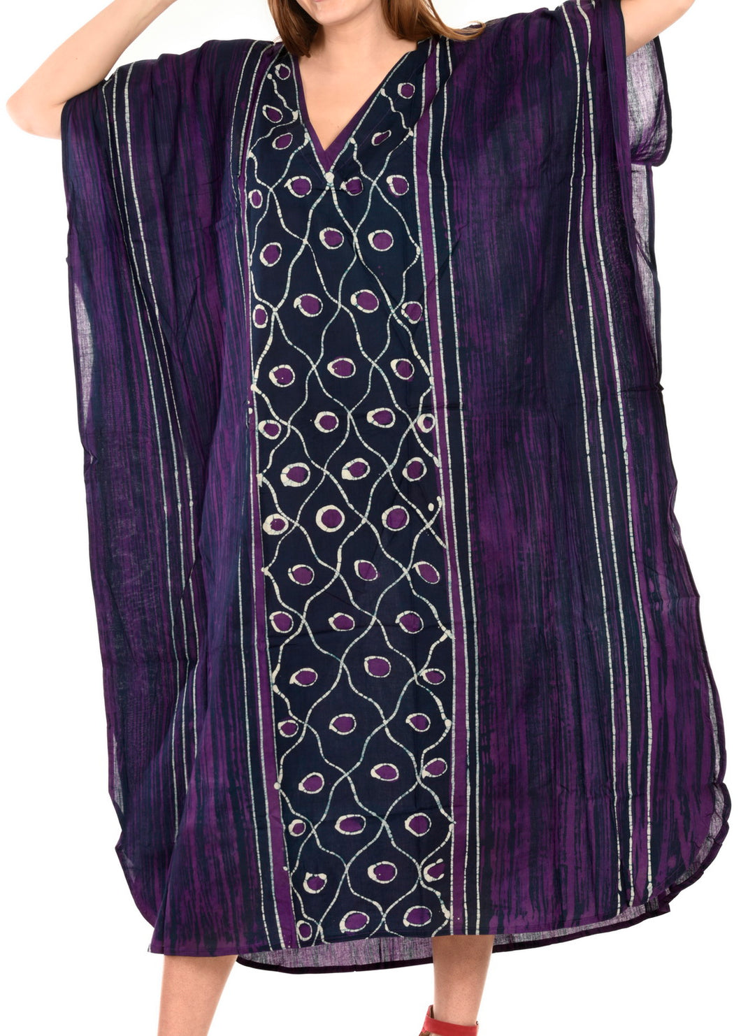 la-leela-cotton-batik-Printed-womens-kaftan-kimono-summer-beachwear-cover-up-dress-Purple