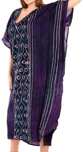 LA LEELA Cotton Batik Printed Women's Kaftan Kimono Summer Beachwear Cover up Dress Purple_T251