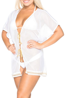 LA LEELA Kimono Cardigan Bikini Cover up jacket Net Beachwear Plain OSFM 14-18 [L-2X] White_1285
