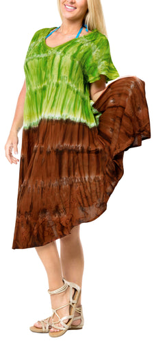 LA LEELA DRESS Beach Cover up Rayon Tie Dye Casual Strapless Cover Up Parrot Green 609 Plus Size