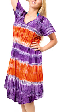 LA LEELA Casual DRESS Beach Cover up Rayon Tie Dye Swimsuit Evening Skirt Purple 610 Plus Size