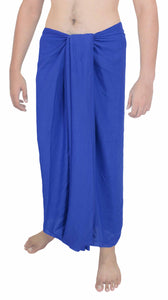 "LA LEELA Men Sarong Rayon Solid Swimsuit Beach Pareo Towel Boy Wrap 72""X42"" Royal Blue_5038"
