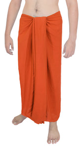 "LA LEELA Men Sarong Rayon Solid Casual BeachWear Swimwear Wrap Men's 72""X42"" Orange_5043"