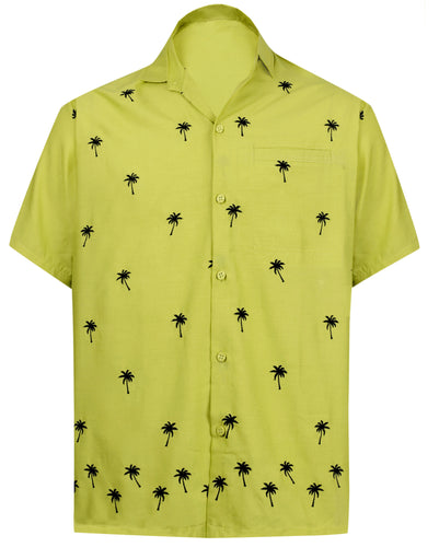 LA LEELA Men's Beach Hawaiian casual Aloha Button Down Short Sleeve shirt Mustard_W833