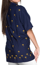 Load image into Gallery viewer, la-leela-womens-beach-casual-hawaiian-blouse-short-sleeve-button-down-shirt-navy-blue-aloha