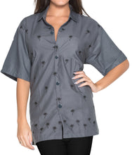 Load image into Gallery viewer, LA LEELA Women's Beach Casual Hawaiian Blouse Short Sleeve button Down Shirt Grey