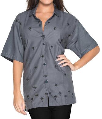 la-leela-womens-beach-casual-hawaiian-blouse-short-sleeve-button-down-shirt-grey