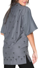 Load image into Gallery viewer, la-leela-womens-beach-casual-hawaiian-blouse-short-sleeve-button-down-shirt-grey