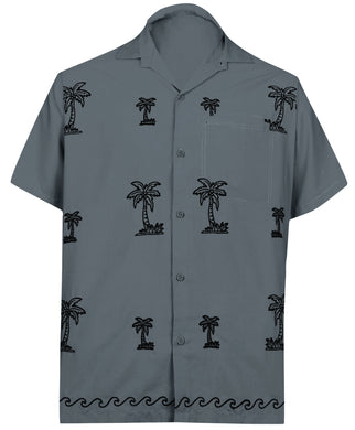 LA LEELA Men Regular Size Beach hawaiian Shirt Aloha Tropical Beach  front Pocket Short sleeve Grey