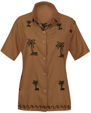 la-leela-womens-beach-casual-hawaiian-blouse-short-sleeve-button-down-shirt-brown