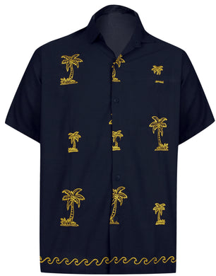 LA LEELA Men's Casual Beach hawaiian Shirt Aloha Tropical Beach  front Pocket Short sleeve Navy Blue