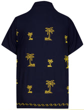 Load image into Gallery viewer, la-leela-mens-casual-beach-hawaiian-shirt-aloha-tropical-beach-front-pocket-short-sleeve-navy-blue