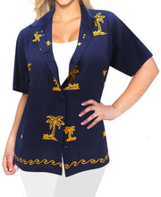 Load image into Gallery viewer, la-leela-womens-beach-casual-hawaiian-blouse-short-sleeve-button-down-shirt-aloha-blue