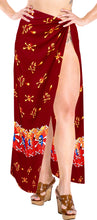Load image into Gallery viewer, la-leela-soft-light-bikini-tie-slit-cover-up-sarong-printed-88x42-red_2522