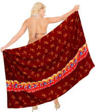 "Load image into Gallery viewer, La Leela Soft Light Bikini Tie Slit Cover Up Sarong Printed 88""X42"" Red_2522"
