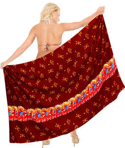 "La Leela Soft Light Bikini Tie Slit Cover Up Sarong Printed 88""X42"" Red_2522"