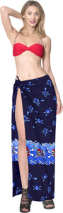 La Leela Soft Light Long Swim Women's Skull Halloween Costume Swimsuit Pareo Cover Ups Beach Sarong Blue_Q72