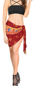 La Leela Soft Light Long Swim Women's Skull Halloween Costume Swimsuit Pareo Cover Ups Beach Sarong Blood Red_Q70