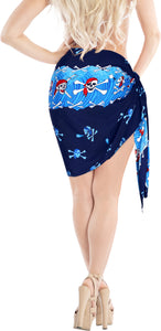 LA LEELA Women Beachwear Bikini Cover up Wrap Pareo Dress Swimwear Mini Sarong Blue
