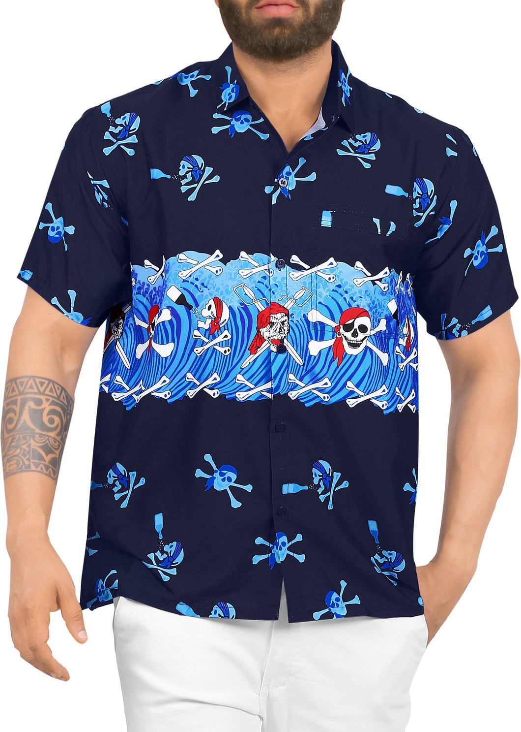 LA LEELA Men Regular Size Beach hawaiian Shirt Aloha Tropical Beach  front Pocket Short sleeve Blue
