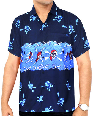 LA LEELA Men Casual Beach hawaiian theme Shirt Aloha Tropical Beach  front Pocket Short sleeve Blue