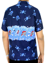 Load image into Gallery viewer, la-leela-mens-casual-beach-hawaiian-theme-shirt-aloha-tropical-beach-front-pocket-short-sleeve-blue
