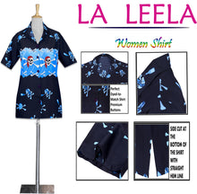 Load image into Gallery viewer, LA LEELA-Womens-Skull-Halloween-Costume-Casual-Beach-Hawaiian-Shirts-Printed-Blue-skull-pairate-printed