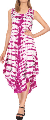LA LEELA Casual DRESS Beach Cover up Rayon Tie Dye Aloha Beach Wear Length Knee Pink 546 Plus Size
