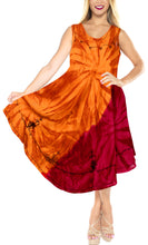 Load image into Gallery viewer, la-leela-rayon-tie-dye-beach-womens-casual-dress-beach-cover-up-wear-orange-647-plus-size