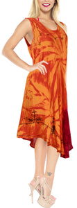 LA LEELA Rayon Tie Dye Beach Womens Casual DRESS Beach Cover up Wear Orange 647 Plus Size