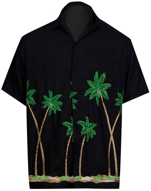 LA LEELA Men Casual Beach hawaiian Shirt Aloha Tropical Beach front Pocket Short sleeve theme Black