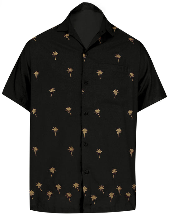la-leela-mens-beach-hawaiian-casual-aloha-button-down-short-sleeve-shirt-Halloween Black_W828