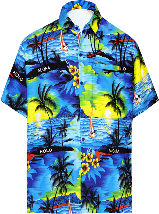 LA LEELA Men Casual Beach hawaiian Shirt Aloha theme Tropical Beach  front Pocket Short sleeve Blue