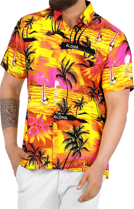 LA LEELA Men's Casual Beach hawaiian Shirt Aloha Tropical Beach  front Pocket Short sleeve Orange